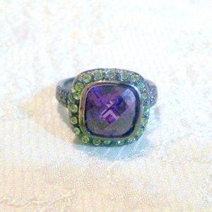 Gunmetal Finish Faux Amethyst & Tanzanite Fashion Ring